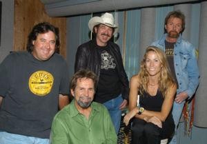 L-R seated-Tony Brown-Sheryl Crow- Shown L-R standing- Vince Gill- Kix Brooks- Ronnie Dunn-Photo by Alan Mayor
