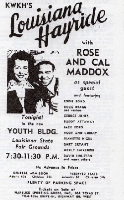 Rose and Cal Maddox at the Louisiana Hayride
